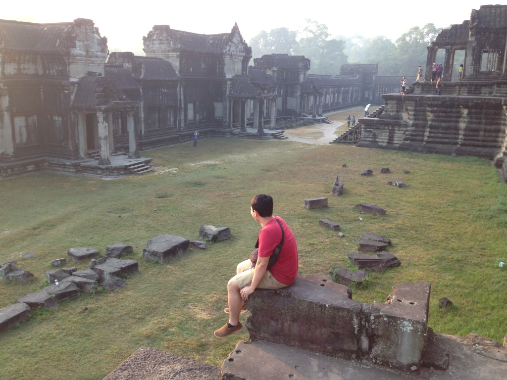 Enjoying the morning dew on top of Angkor Wat Temple in Siem Reap, Cambodia.