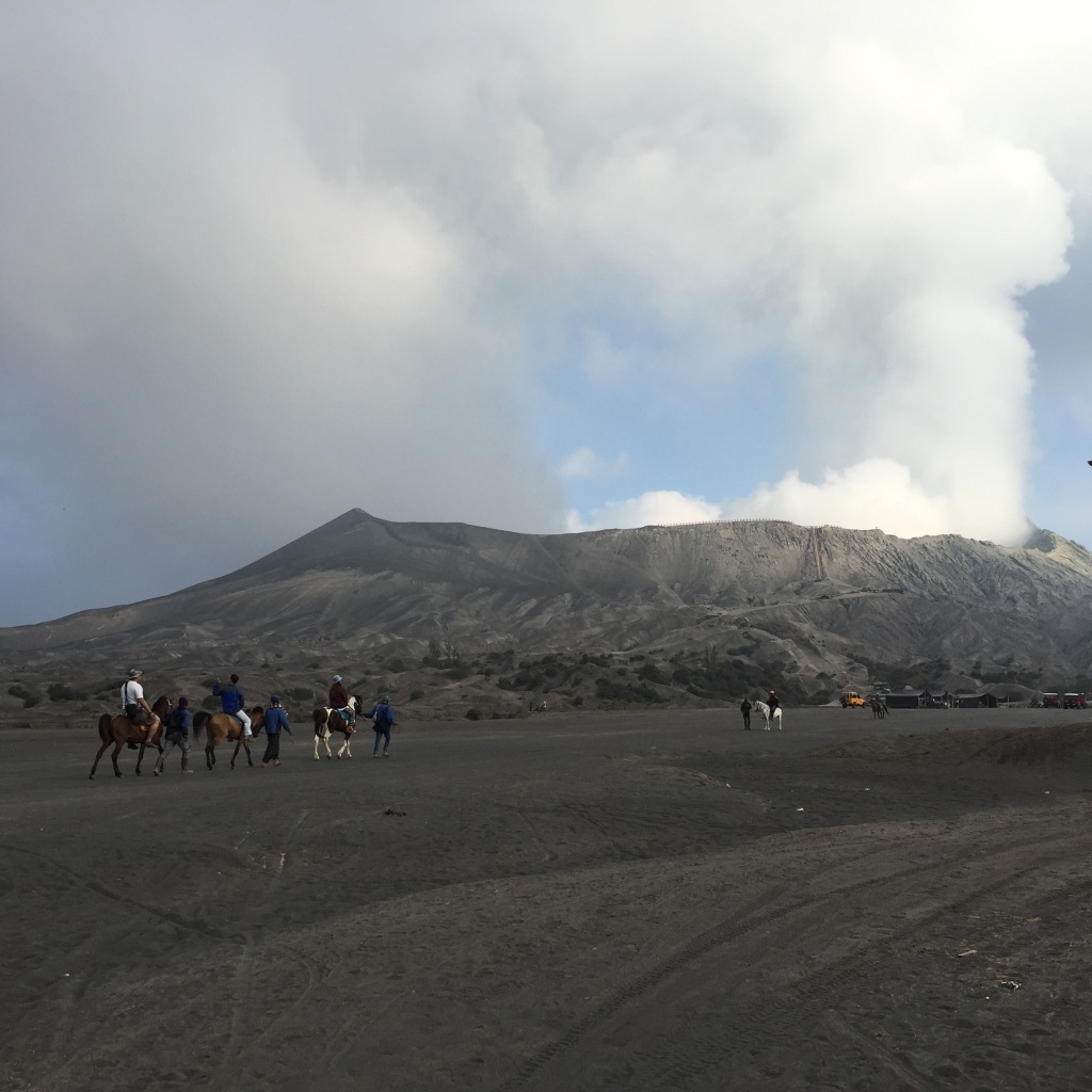 People riding on horses to Bromo