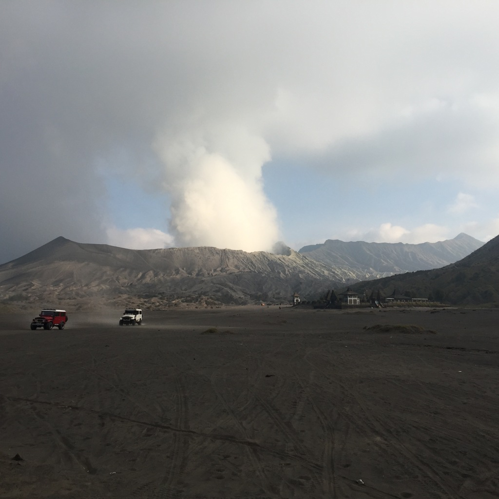 Jeeps leaving Bromo
